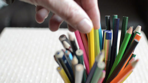 close-up shot of colored pencils standing in a jar Footage