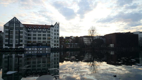 Sunset at the Spree river in Berlin Footage