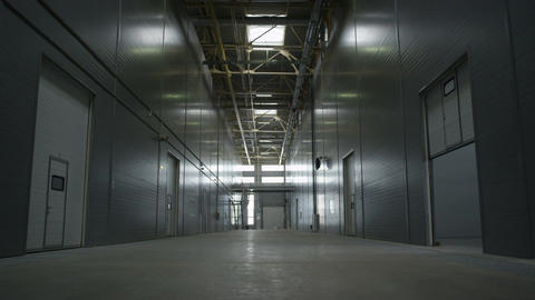 View of Plant Warehouse Empty Space in Grey Light Footage