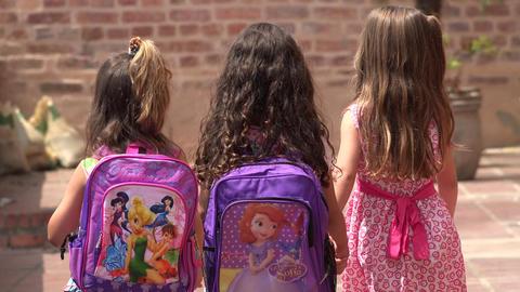 Children Walking To School Footage