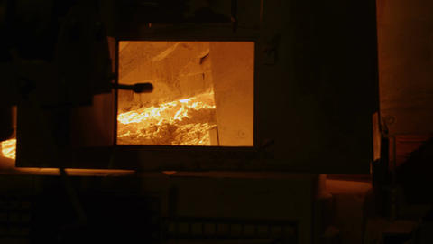 Inside View of Glass Melt Furnace Footage