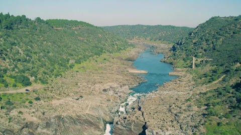 Aerial View of the Pulo do Lobo Waterfall Footage