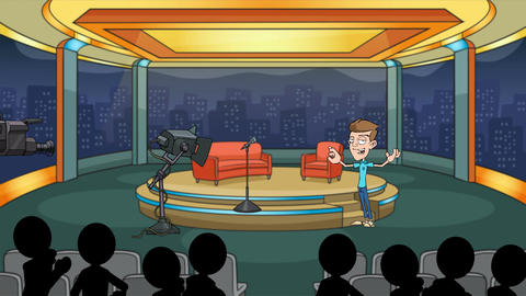 Talk Show Host with Adoring Crowd: Looping Animation