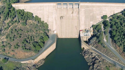 Aerial View of Dam near Pomarao Footage