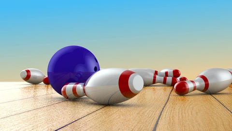 Bowling ball and skittles CG動画素材