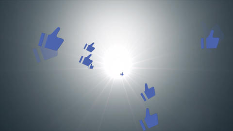 Thums up icon travel from center light ray Animation