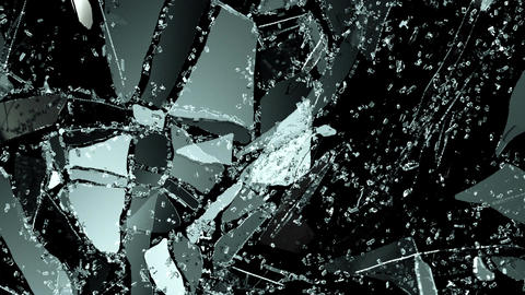 Glass crack and shatter with slow motion. Alpha Stock Video Footage