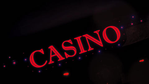 1080p Red Casino Sign With Flashing Lights at Entrance to Casino Glows in The Footage