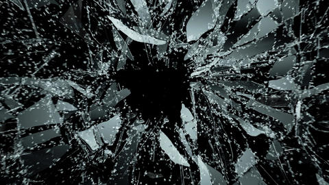 Pieces of destructed Shattered glass in slow motion 4k. Alpha matte Animation