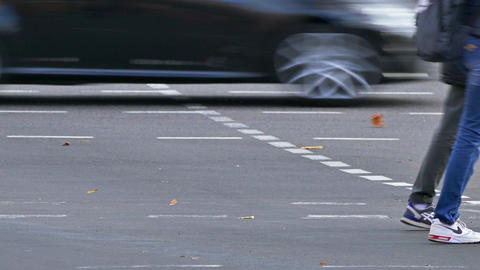 1080p Flow of Pedestrians Crossing Street at Crosswalk Towards Each Other Footage