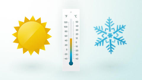 sun and snowflake with thermometer and temperature fluctuation Animation