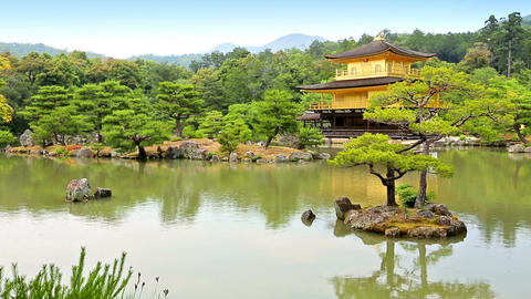 Temple of the Golden Pavilion Kinkaku-ji, Kyoto Japan Footage