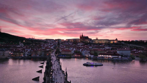sunset over Charles Bridge and Prague Castle, Czech Republic Footage