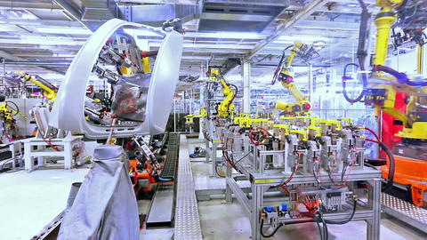 robots in a car plant Footage