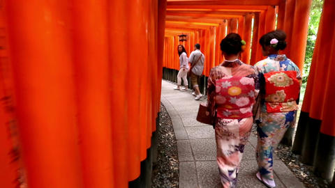 women in Japanese geisha style clothing walks through Fushimi Inari in Kyoto, Ja Footage