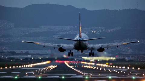 big plane landing during the blue hour Footage