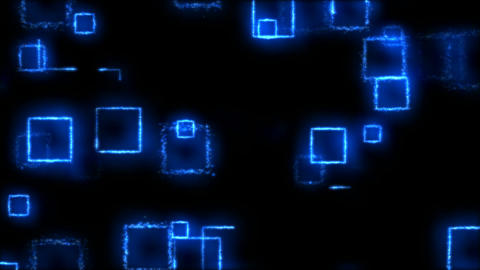 Drawing Square Shapes on Black Background - Loop Blue Animation