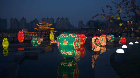 Chinese Lanterns Glowing Water - Spring Festival Footage