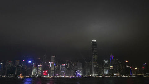 Night skyline in Hong Kong Footage