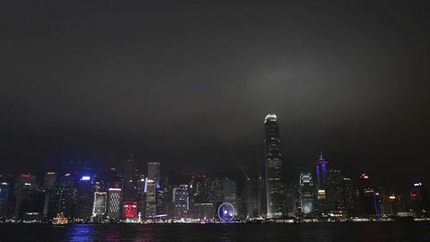 Night skyline in Hong Kong Footage