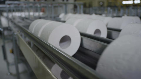 Close View of Long Toilet Paper Conveyor Footage