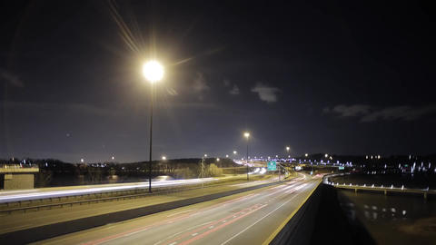 Washington Bridge at Night Time. the Bridge Going From Car Headlights Included.  Footage