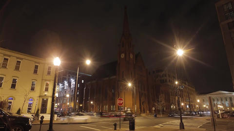 Washington Street at Night. Intersection. at the Intersection Alternately Passin Filmmaterial
