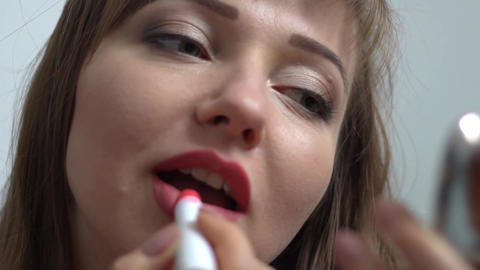 The Woman Draws Lips Lipstick And Send Kiss Footage