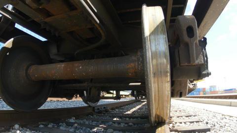 Clouseup Metal Wheels of Train Wagon Footage