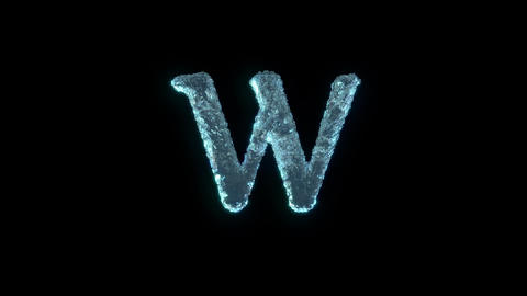 The Letter W Of Ice Isolated On Black With Alpha Matte Animation