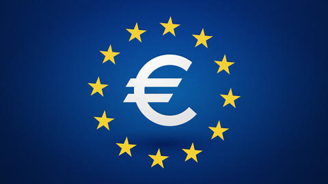 euro currency symbol with rotating yellow stars endless loop Animation