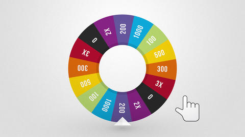 color wheel of fortune spins randomly drawn to win Animation