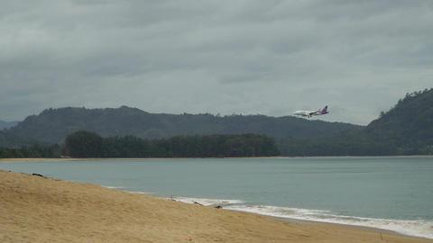 Thai Airways plane is landing at Phuket airport Footage
