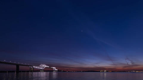 Sun set over the tokyo bay (Tokyo gate bridge illumination)