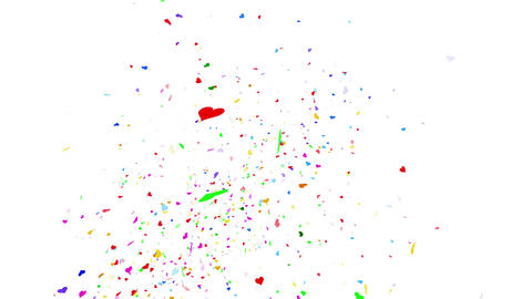 Confetti Heart 1 Slant Fix 1McW 4k CG動画素材