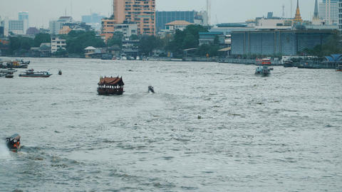 Boats on the Chao Phraya River Footage