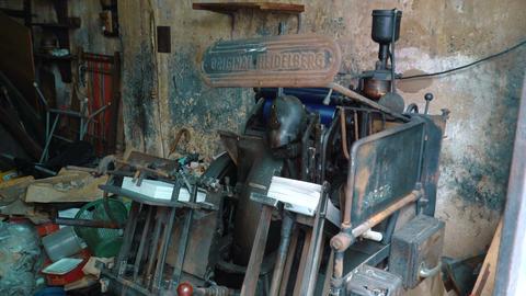 old vintage Heidelberg printing press ビデオ