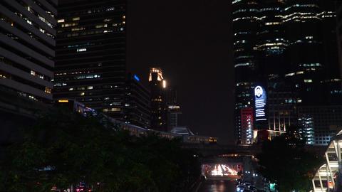 Skytrain at night Bangkok Footage