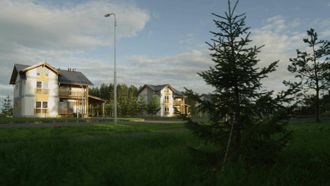 New Houses in Cottage Village Street in Summer Evening Footage