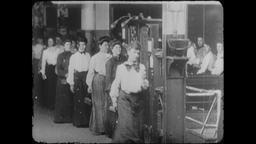4K Turn of the Century: Factory Seamstress Workers, Clocking Out Footage