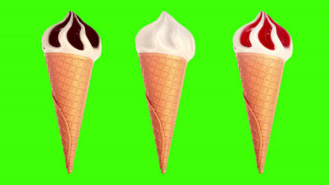 Ice Cream slowly rotating on a green background Animation