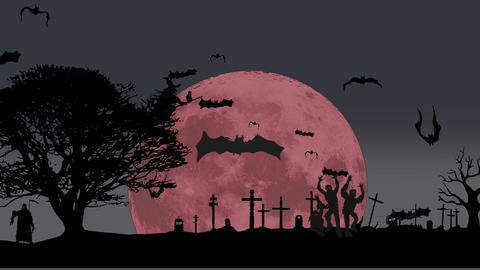 Halloween animation: nightclub video promo Stock Video Footage
