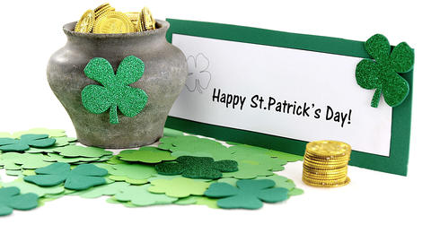 Happy St Patricks day message with leprechauns pot of gold Live Action