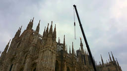 Milan Duomo Crane Restoration Footage