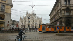 MILAN, ITALY - FEBRUARY 2017 - Piazza Duomo, cathedral and monument in Milano, I Footage