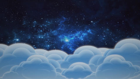 "Cartoon animation ""Clouds and space"" - 1 Animation"