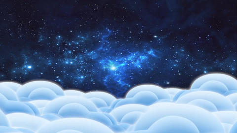 "Cartoon animation ""Clouds and space"" - 3 Animation"