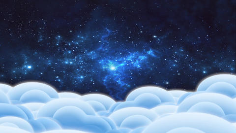 """Cartoon animation """"Clouds and space"""" - 3 Stock Video Footage"""