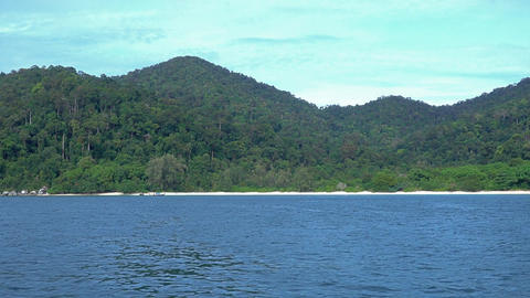 View from boat on deserted islands in Thailand Footage