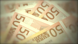 Closeup of Euro banknotes spinning with blur effect Footage